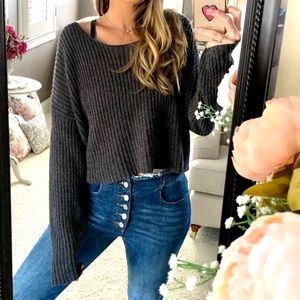 FOREVER 21 | Slate Gray Chunky Knit Crop Sweater